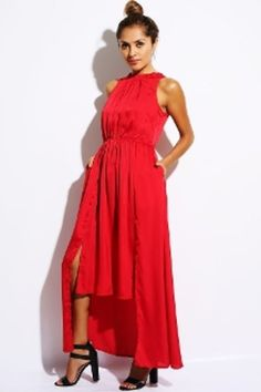 RED HIGH LOW MAXI WITH TIE BACK - $49