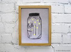 Mason Jar Firefly Lightning Bug Linocut Relief Print - Summer Home and Garden Decor, Nursery Wall Art. $23.00, via Etsy.