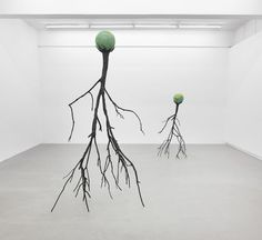 cool conceptual contemporary gallery installation figurative sculptures Nervous Trees, Kristof Kintera, Prague