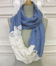 Just sew a piece of lace to each end of a scarf to make a lovely eternity cowl Look Fashion, Diy Fashion, Vintage Fashion, Fashion Outfits, Scarf Necklace, Scarf Jewelry, Beautiful Outfits, Cute Outfits, Diy Clothes
