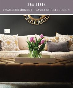 """I love love love this room!  I think this will be my new living room.  The combination of grey and gold is beautiful and will compliment my art work by Gary Benfield.  The wall color is """"magnetite"""" by Martha Stewart.  Designer is Andrea Prasch."""