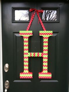 Custom Holiday Door Decoration, different colors available too! Cute Christmas Initial!