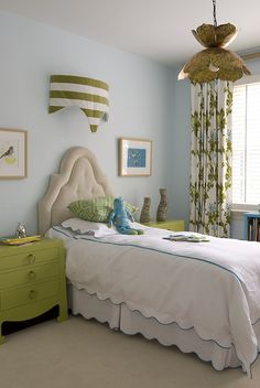girl's rooms - Bungalow 5 Jacqui 3 drawer Chest Jamie Young, Co. Flowering Lotus Pendant blue walls tan velvet tufted headboard green David Hicks La Fiorentina pillow white scalloped bedding turquoise blue stitching blue green floral drapes turquoise blue bookshelf