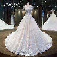 2017 New Fashion Elegant Crystal Beading Ball-Gown Wedding Dresses Princess Cathedral/Royal Train O-Neck Wedding dress