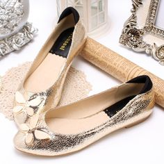 Free shipping hot-selling PU butterfly shallow mouth flat-bottomed casual shoes women's flat shoes $55.00