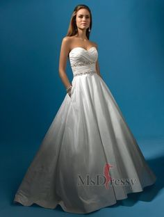 A-line Sweetheart Sweep Train Taffeta Wedding Dress with Sequins