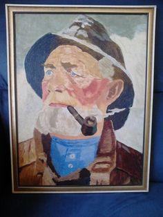 Olieverf op paneel-Man met pijp-Jochem de Graaf.Jaren 60-70