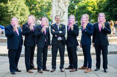 "Silly groomsmen portraits - masks of the bride's face! From Amanda & Blake's ""Southern Comfort"", handmade & elegant DC wedding at the Whittemore House. Images by Emily Clack Photography."