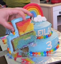 Rainbow dash cake inside.
