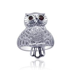 Royal Bali Collection African Ruby (Rnd), Simulated White Diamond Owl Ring in Sterling Silver 0.710 Ct., Silver wt 7.60 GM