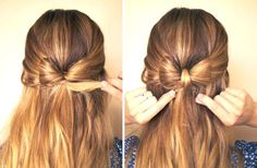 I kind of like the hair bow. I was looking for some hair inspiration and this hairstyle is a cool alternative to the top knot. You can find instructions