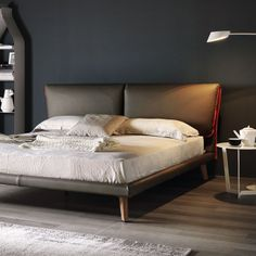 Leather double bed with upholstered headboard ADAM By Cattelan Italia design Gino Carollo Leather Double Bed, Leather Bed, Sofa Design, Furniture Design, Bunk Bed With Desk, Modern Bunk Beds, Italia Design, Italian Furniture, Loft Spaces