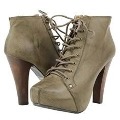 Qupid Taupe Lace Up Chunky Heel Ankle Boots