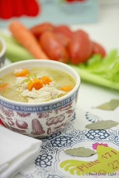 Healthy, Low Calorie, Chicken Vegetalbe Soup with Rice www.fooddonelight.com