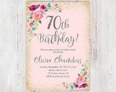 Cualquier invitación de cumpleaños de las mujeres de edad Floral púrpura y plata mujeres cumpleaños invitación, invitación de cumpleaños número 70, Boho mujeres invitan a 105