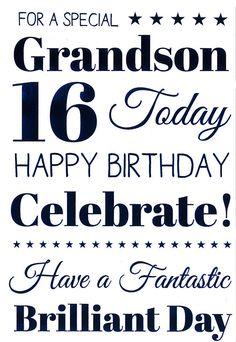 Grandson 15th 15 Blue Scrolls Word /& Star Design Happy Birthday Card