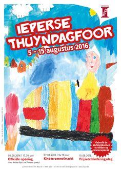 Affiche voor de Ieperse Thuyndagfoor 2016, met medewerking van de leerlingen 1ste lagere graad dé Academie Ieper. (artwork: Féline Denturck/Stad Ieper)