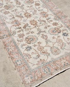 Blush Pink Vintage Turkish Rug From Woven In South Carolina