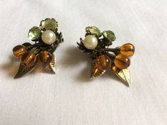 Faux Pearl and Rhinestone Clip Earrings by FrouFrou4YouYou on Etsy