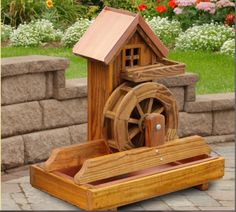 Amish Water Wheel Fountain Wooden Garden Yard Decor New