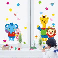 兒童臥室房間裝飾牆貼畫 卡通貼紙背景貼花 可移除寶寶牆貼小動物-tmall.com天貓