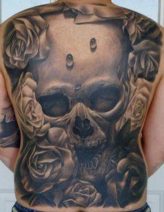 3d skull tattoos designs on full back Full Back Tattoos Angel Wings