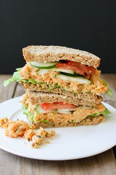 (Skip the pepitas for Phase 1; serves 3) Creamy Mashed Chickpea and Veggie Sandwich -- Super creamy but no mayo or oil! Fully loaded with your favorite veggies. Use 1 slice sprouted-grain bread per serving.
