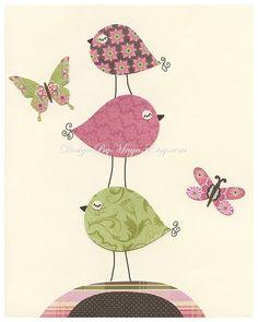 Baby girl room decor Nursery wall print love bird por DesignByMaya