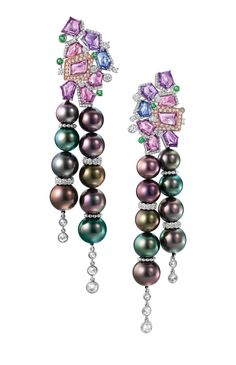 The Aurora earrings by Chow Tai Fook - in 18k white gold with South Sea peacock pearls, pink and purple sapphires, green garnets and white diamonds.