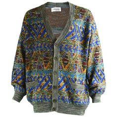 Preowned Missoni Men's Vintage Multicolored Patterned Wool Cardigan... (€205) ❤ liked on Polyvore featuring men's fashion, men's clothing, men's sweaters, cardigans, multiple, mens vintage sweaters, mens colorful sweaters, missoni mens sweater, mens wool cardigan sweater and mens tribal sweater