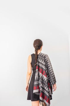 Women Scarf Man Scarf Winter Scarf Autumn Scarf Women Accessory For Her Christmas Gift Red Scarf Thick Scarf Tribal Scarf Gray Scarf Men