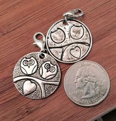 2 pcs ~ Two Owls antique silver tone large charms / small pendants ready to hang with lobster clasps by BuildUrBling on Etsy