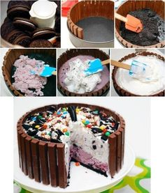 Candy Shop Ice Cream Cake Recipe 2 qt ice cream, any 2 flavors 2 TBS milk 39 kit-kat candy bars 16 oz whipped topping, frozen (like cool whip) 30 oreo cookies, broken up cup chocolate candies, assortment Ice Cream Desserts, Frozen Desserts, Ice Cream Recipes, Frozen Treats, Just Desserts, Delicious Desserts, Diy Ice Cream Cake, Ice Cream Birthday Cake, Cake Birthday