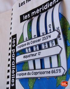 Latitude et longitude dans le cahier interactif de géographie qui a subi une…