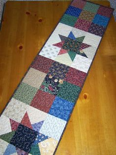 9-Patch Stars Table Runner in Thimbleberries fabrics by Busy Hands Quilts