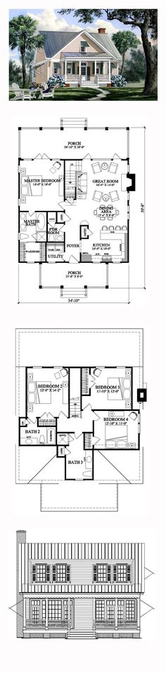Coastal House Plan 86169 | Total Living Area: 1957 sq. ft., 4 bedrooms and 3 bathrooms. #capecodhome