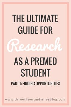 Premed's Guide to Research Part 1: Finding Opportunities