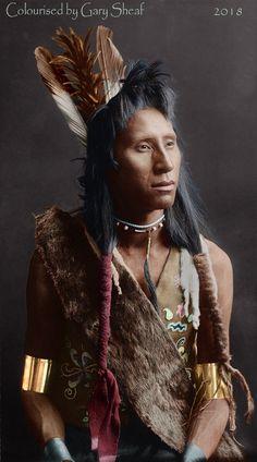Apsaroke (Crow) man. Photo by Edward Curtis and colourised by Gary Sheaf