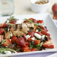 Balsamic vinegar, sweet strawberries, and creamy goat cheese make this salad absolutely delicious.