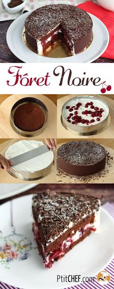 Black forest cake, step by step, Recipe Petitchef Sweet Recipes, Cake Recipes, Dessert Recipes, Food Cakes, Cupcake Cakes, Cupcakes, Forest Cake, Crazy Cakes, Cakes And More