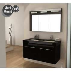 Meuble salle de bain double vasque noir laqué brillant, 120 cm, SDB ...
