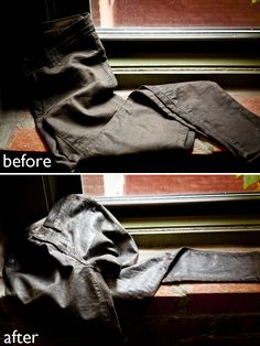 Doing this over the weekend!!  --------- DIY waxed jeans using Otter Wax (or rewax waxed jeans that have lost their sheen)