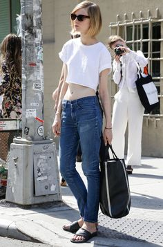 white crop top denim pants street style