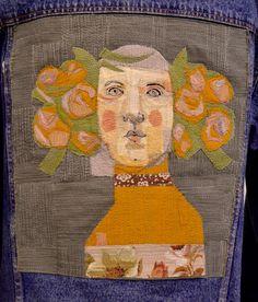 Mrs. Bertimus - Floribunda (detail on denim jacket) Freestyle machine embroidery mrsbertimus.blogspot.com