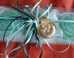 Study in Olive Green - andmade Gift Set for Women: Three Green/Olive Color Scented Luxury Soaps  with a lovely Handmade Jewelry Necklace in the packaging. A very elegant, stylish gift for any occasion: Mothers Day, Valentine's Day, Anniversary, Feast, Engagement, Birthday, any Celebration, any Ceremony, Party… you name it!