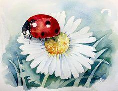 Marienkäfer | Aquarelltiere, Kunstmalerei, Wasserfarben skizze