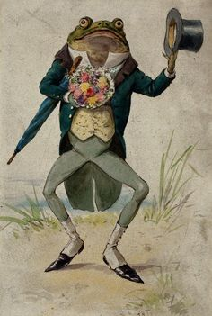 Frog dressed as gentleman with flowers, top hat and umbrella by George Hope Tait. The Wellcome Library, CC-BY