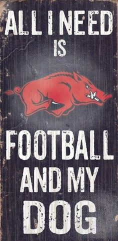 "Arkansas Razorbacks Wood Sign - Football and Dog 6""""x12"""""