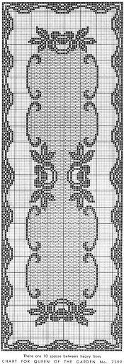 'Queen of the Garden' Filet crochet runner - chart Filet Crochet Charts, Crochet Motifs, Crochet Borders, Crochet Cross, Crochet Diagram, Crochet Home, Thread Crochet, Crochet Stitches, Knit Crochet