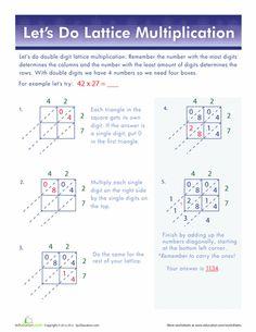 Worksheets: 2-Digit Lattice Multiplication